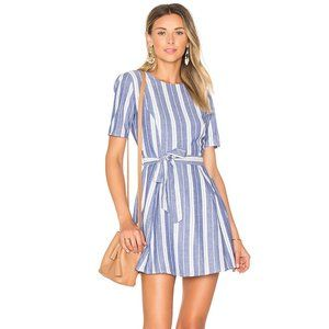 Tularosa Iris Blue & White Stripe Mini Wrap Dress